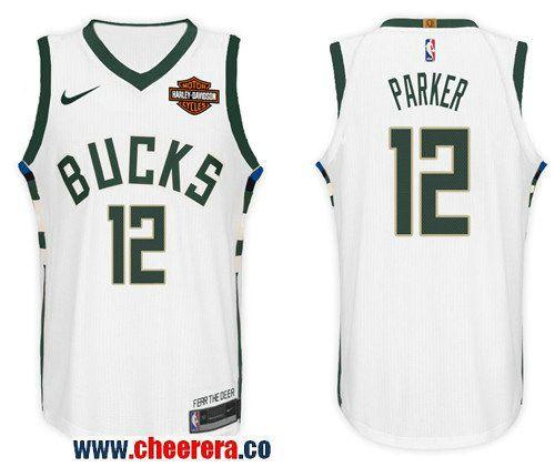 Men s Nike NBA Milwaukee Bucks  12 Jabari Parker Jersey 2017-18 New Season  White Jersey aeef30bef