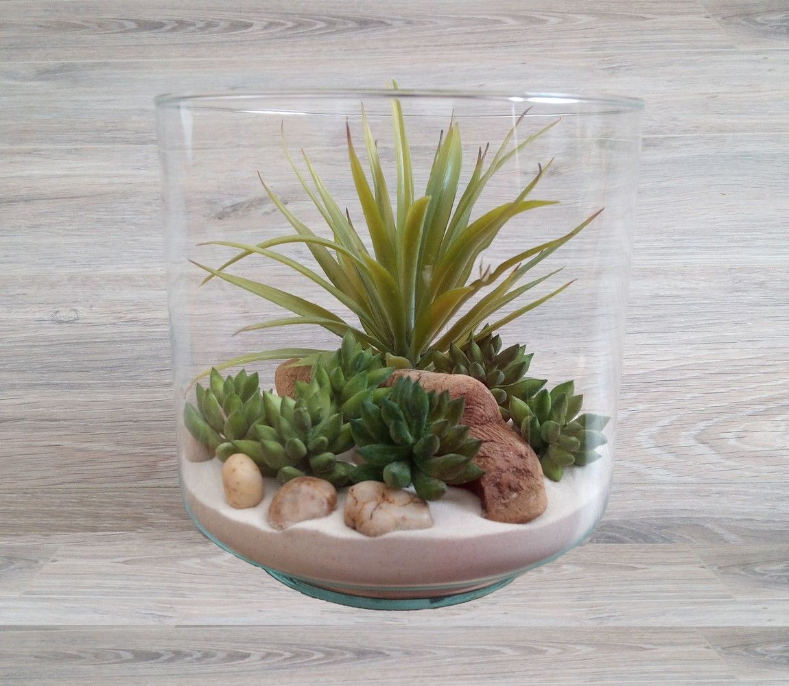 Terrarium plantes grasses artificielles h14 5 anita for Plante decorative jardin