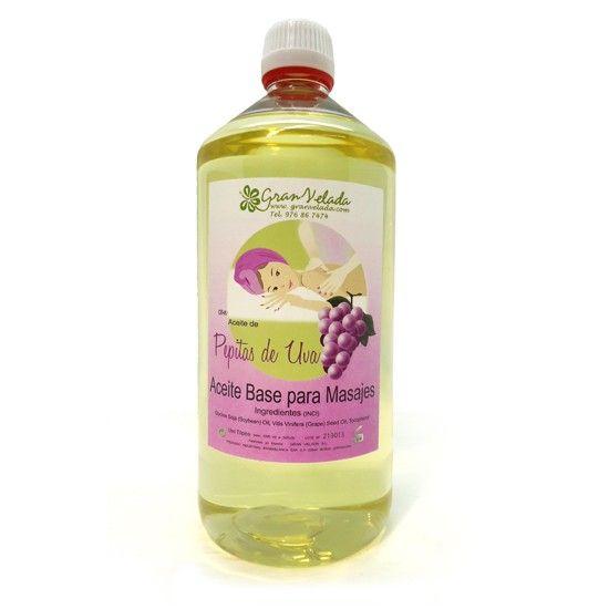 Óleo massagem base Semente de Uva. Contém vitaminas naturais que guardam a saúde da pele.