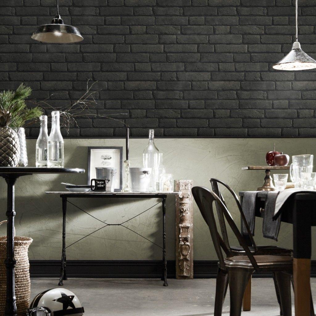 Papier Peint Brique Cuisine papier peint briques noires anthracites à joints noirs
