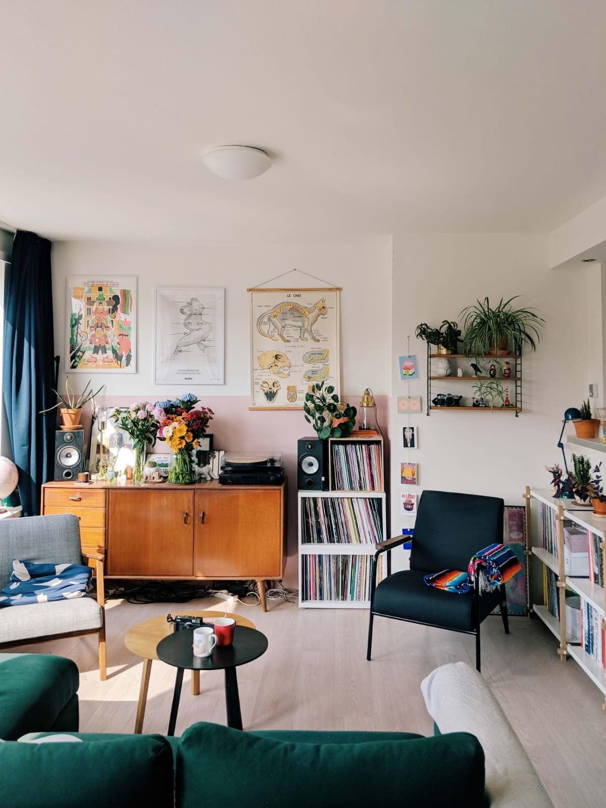 Dream House White Walls Wood Living Room Bedroom Bed Books Shelf Shelving Open Bright Coz Living Room Decor Apartment Small Living Room Decor Living Room Inspo #orange #and #white #living #room