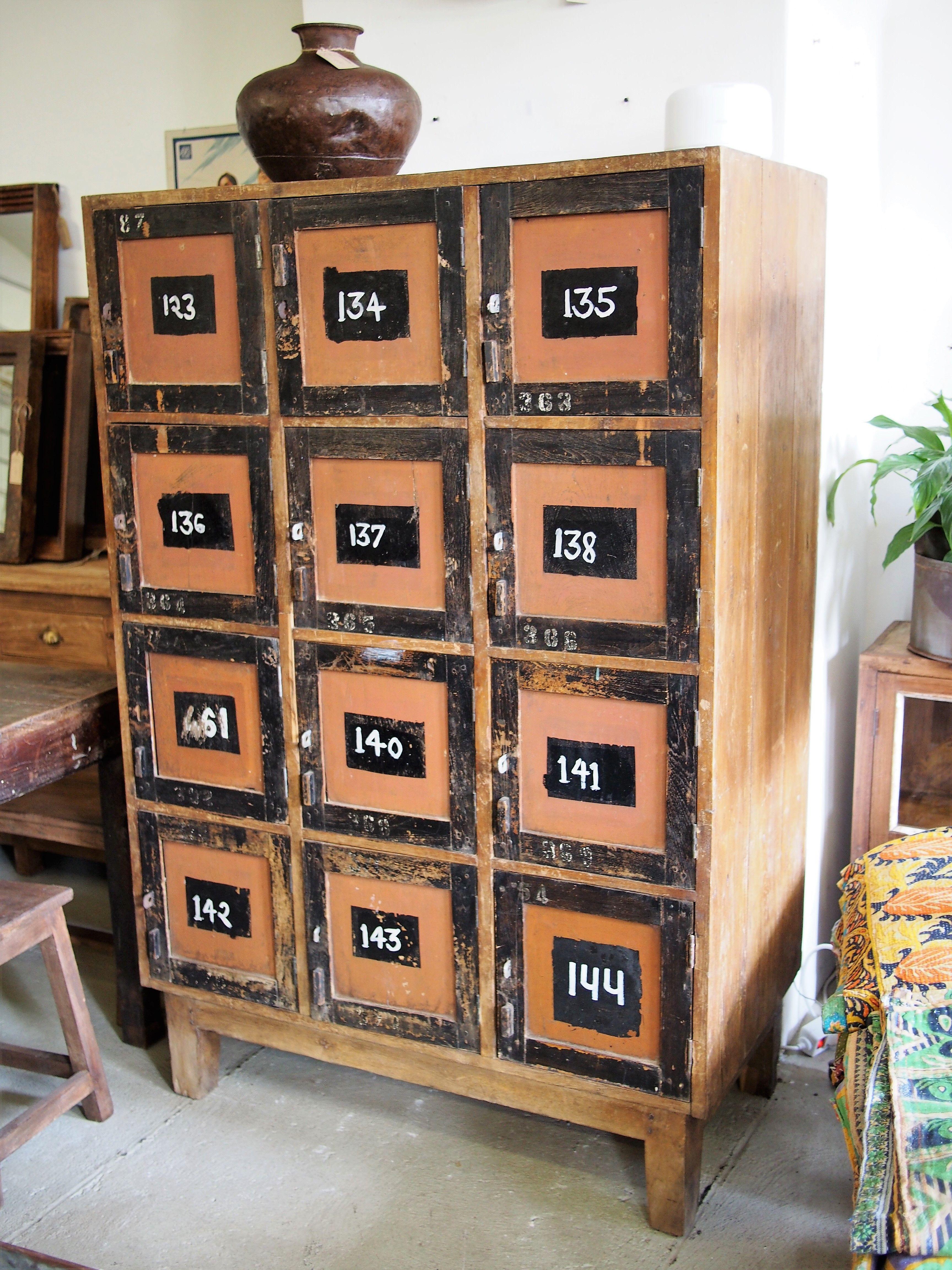 Vintage Wooden Locker Indische Möbel Indigo Vintage