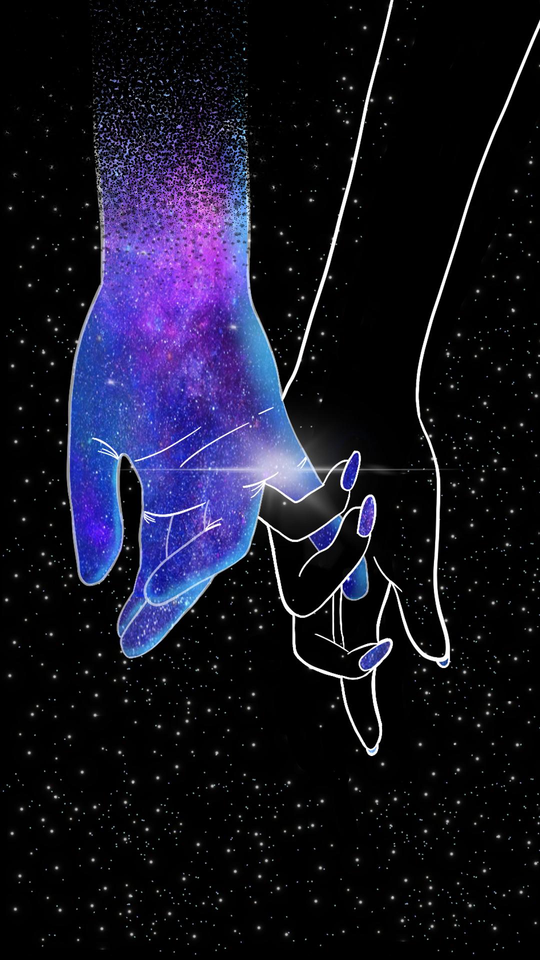Wallpaper Amor Galáxia by Gocase, poeira das estrelas, galáxia, galaxy, purple, blue, black, preto, stars, estrelas, nails, holding hands, mãos dadas, amor, love, carinho, colors, cores, colorful, constelação, constelation, star dust, planets, planetas, espaço sideral,
