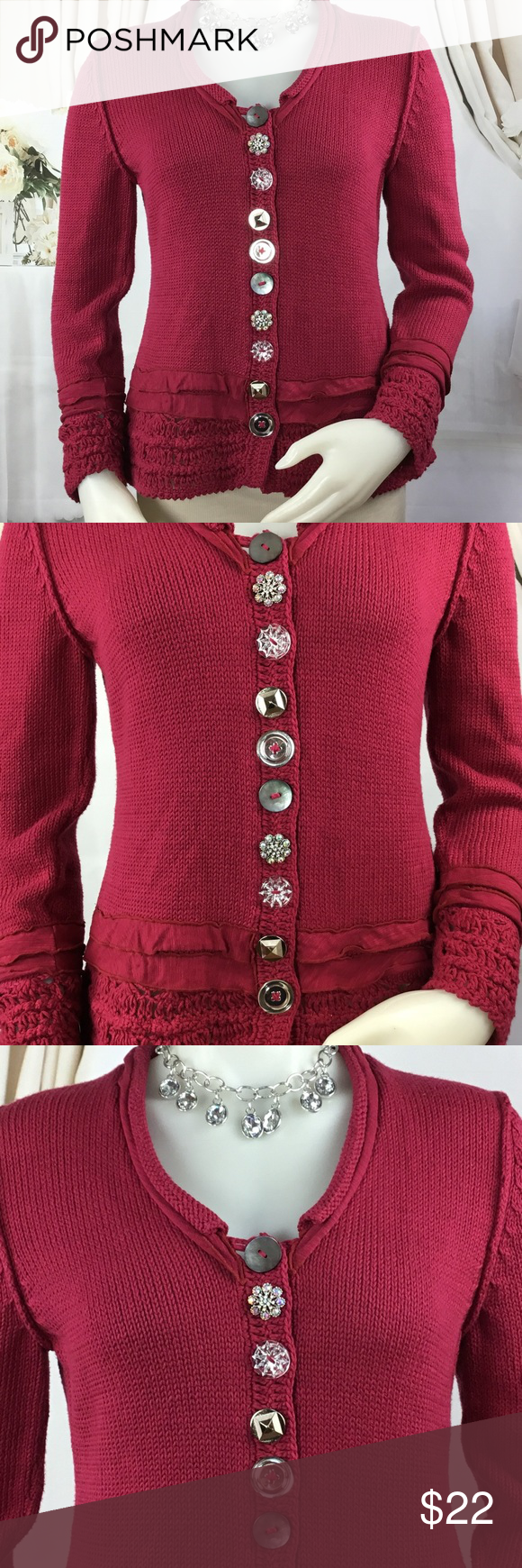 Pink Mixed Button Sweater by Pure Handknit | Unique, Cotton and Classy