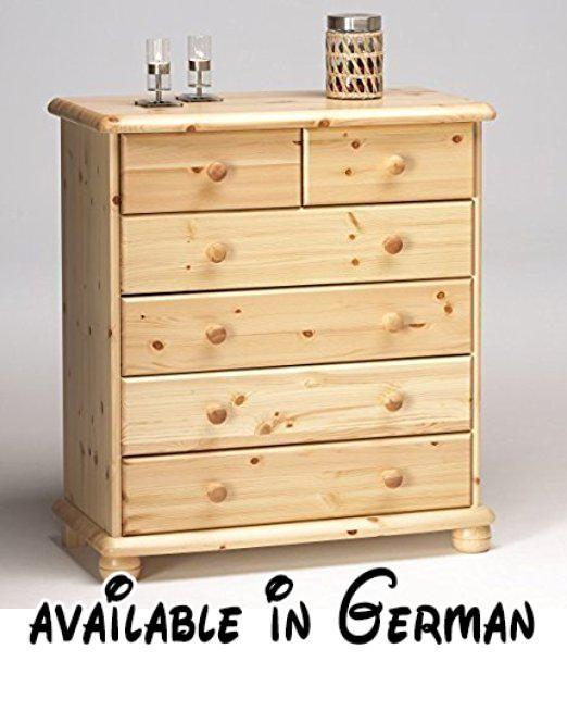 B01N4CDBJ7  Kommode Schubladenkommode Wäschekommode Highboard - schlafzimmer kiefer massiv