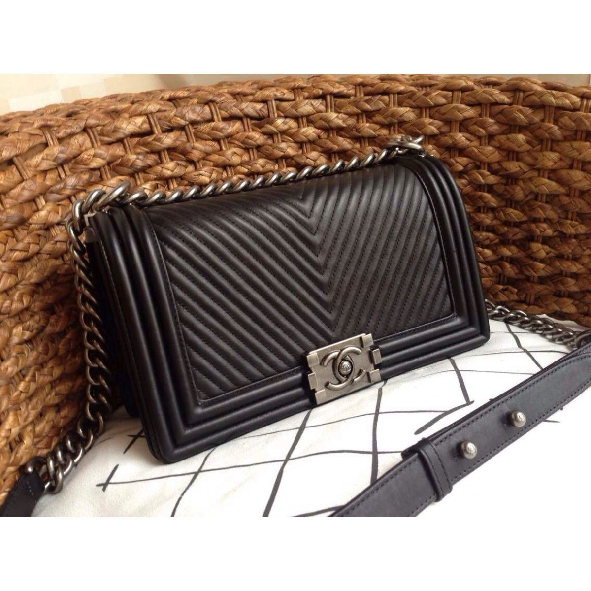 0134ef1b2508 Chanel Micro Chevron Boy Bag - Black