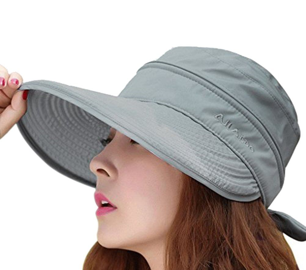 39c59a5e203 Womens 2in1 Wide Brim Summer Folding Anti-UV Golf Tennis Sun Visor Cap  Beach Hat