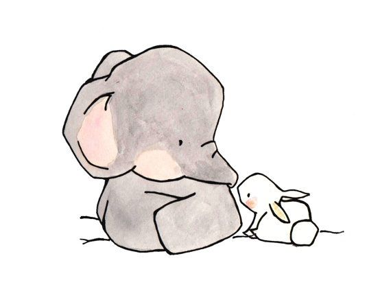 Elephant & Bunny (With images) | Cute drawings, Art, Drawings