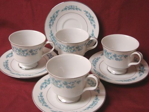 Sango. China Dinnerware Pattern #3785 Sage. set 4 Cup and saucer & Sango. China Dinnerware Pattern #3785 Sage. set 4 Cup and saucer ...