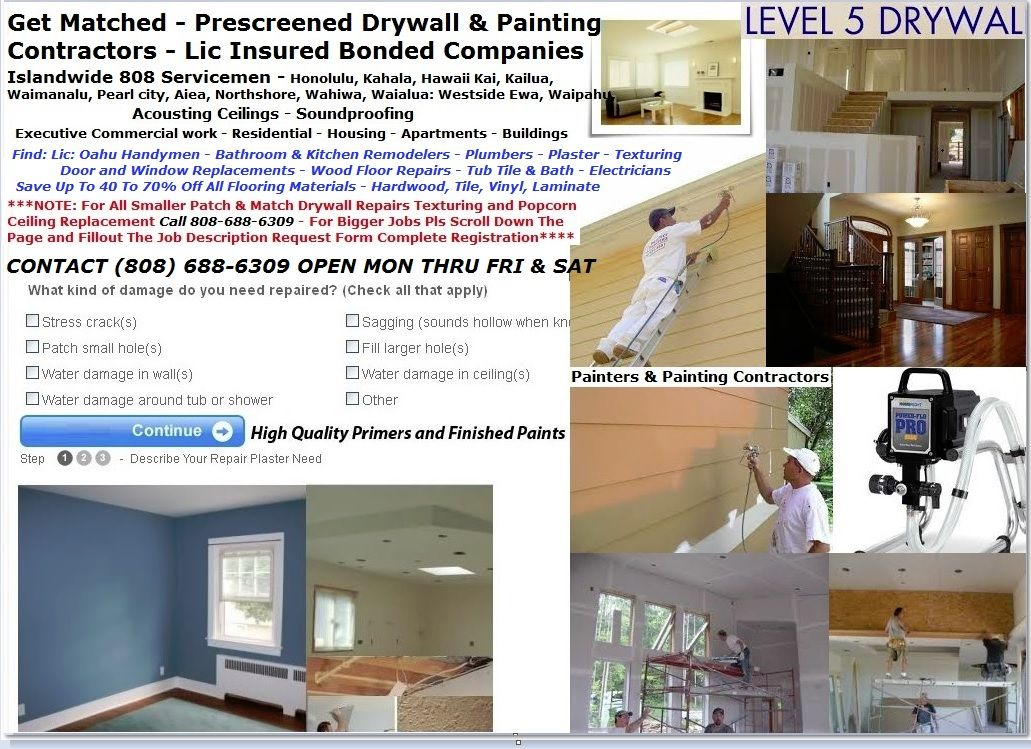 Drywall Plastering and Painters In Honolulu Hawaii