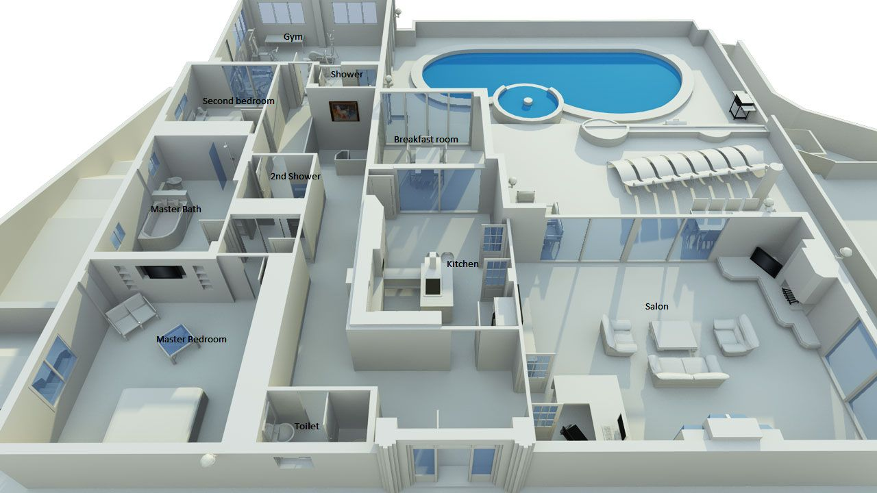 House with swimming pool 2 bed 3 5 bath plus gym and for Swimming pool plan layout