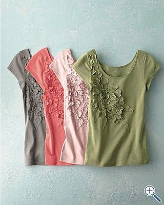 T-shirt revamoped with fabric flowers