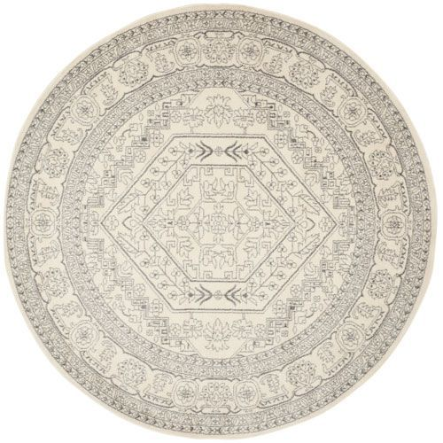 Adirondack Ivory and Silver Round: 6 Ft. 7-Inch x 6 Ft. 7-Inch Rug