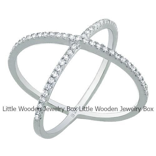 14k White Gold over Sterling Silver Micro Pave Sim Diamond Women's X Cross Ring  #Band