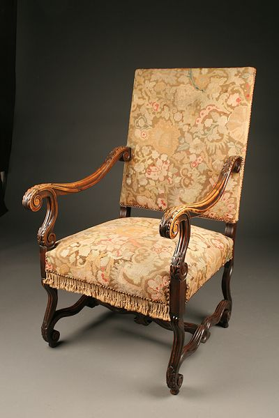 French Louis Xiii Chair With Tapestry Upholstery Chair