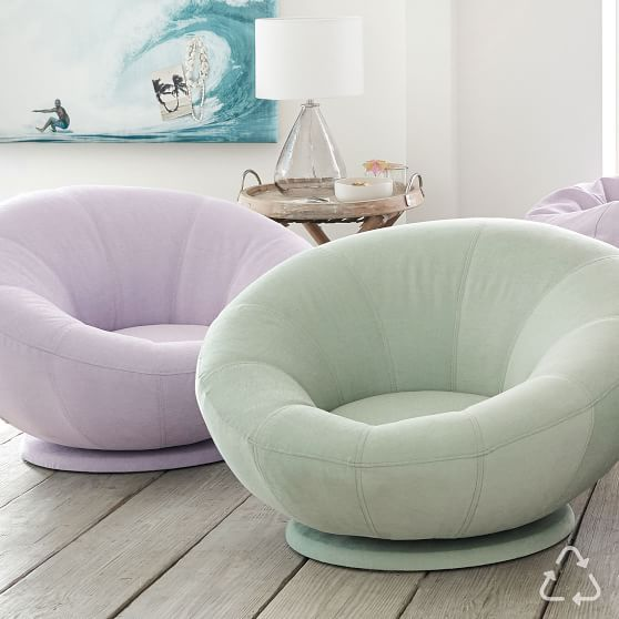 recycled blend chenille washed pool groovy swivel chair in