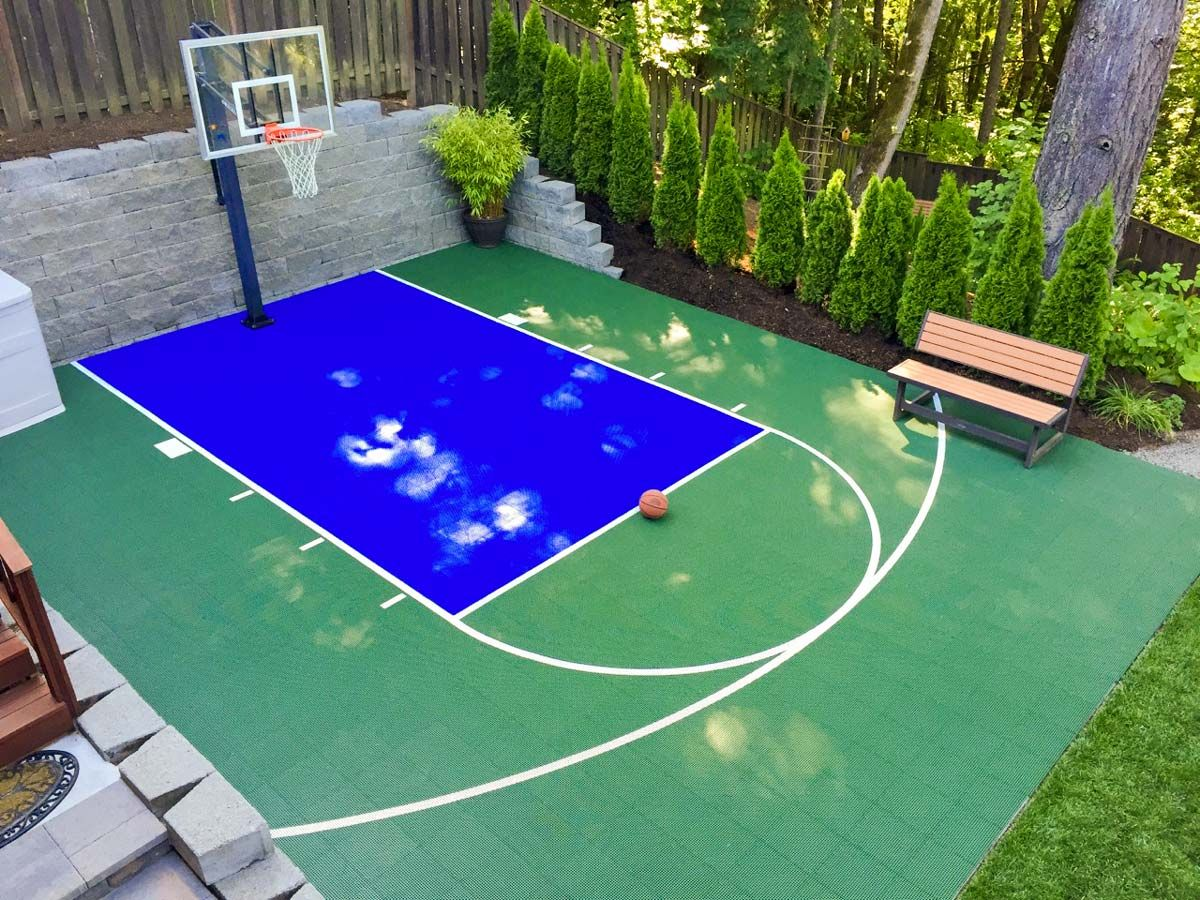 20 X 30 Basketball Court Dunkstar Diy Backyard Courts In 2020 Backyard Court Basketball Court Backyard Home Basketball Court