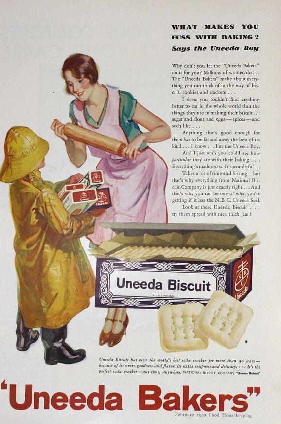 Uneeda Bakers Biscuits - Vintage 1930s Good Housekeeping Magazine ...
