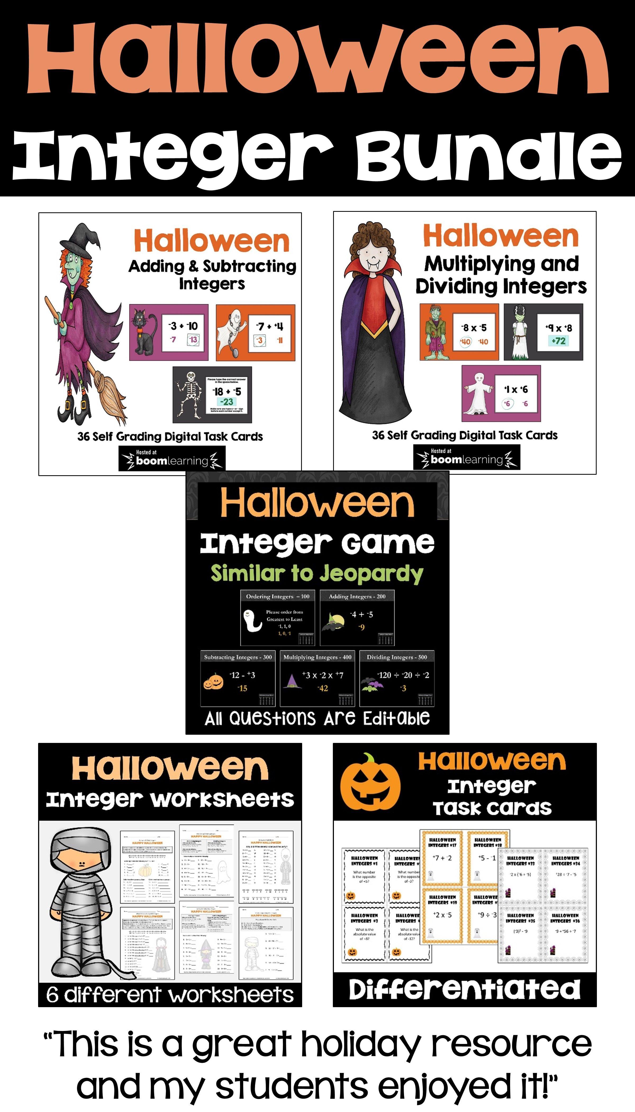 Halloween Integer Bundle With Worksheets Task Cards Boom