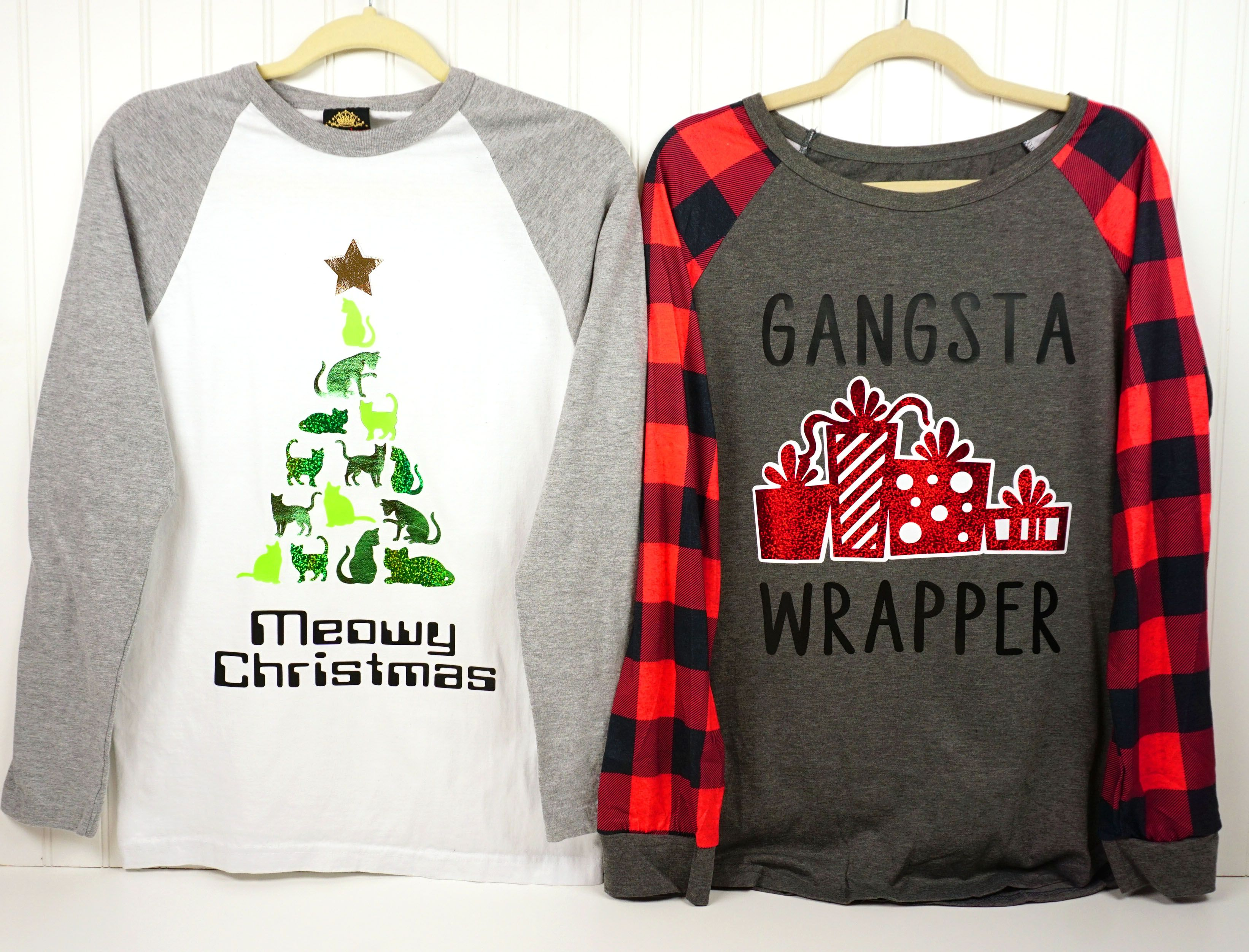 085926e3242 These DIY funny Christmas shirts are quick and easy to make with Cricut!  Free Cricut Christmas cut files included!