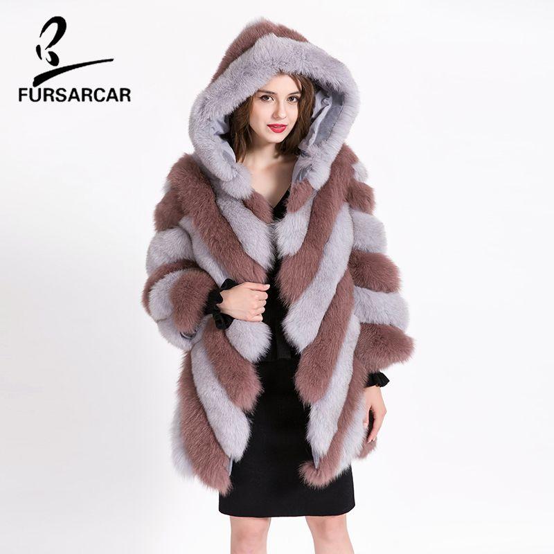 Luxury Ladies Women/'s Real Genuine Shearling Fur Fox Coat Outwear Warm Jackets