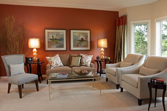 Burnt orange accent wall livingroom google search - Burnt orange feature wall living room ...