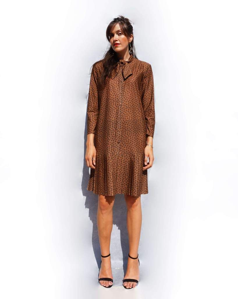 Vintage 1980s Brown Pleated Dress Dresses Dress With Bow