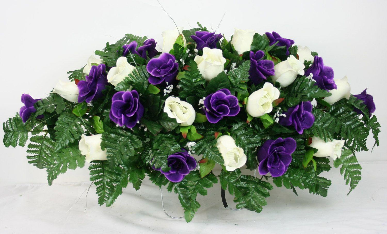 Beautiful Dark Purple And White Roses Silk Flower Cemetery Tombstone