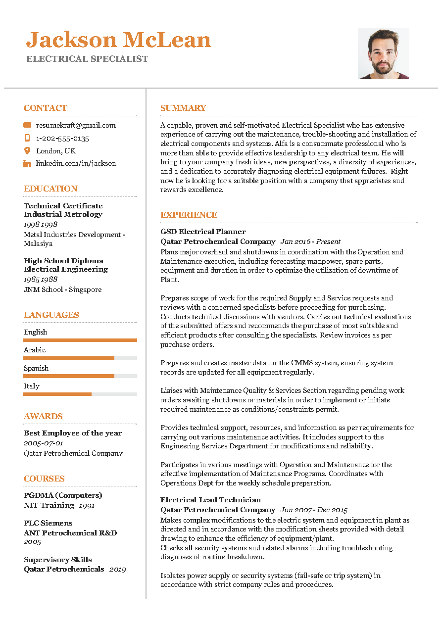Electrical Specialist Sample Resume in 2020 Resume