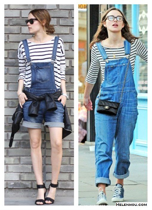 Dungaree and stripe tee, Kiera Knightley