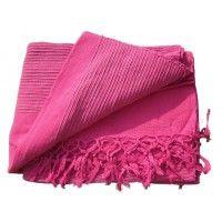 Tenture Kérala plaid couvre lit Rose Fushia | Tentures Plaid