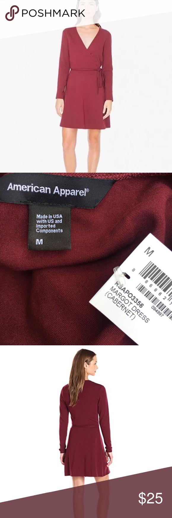 American apparel maroon wrap margot short dress nwt my posh closet