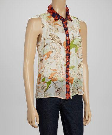 Multifloral Sleeveless Button-Up Top #zulily #zulilyfinds