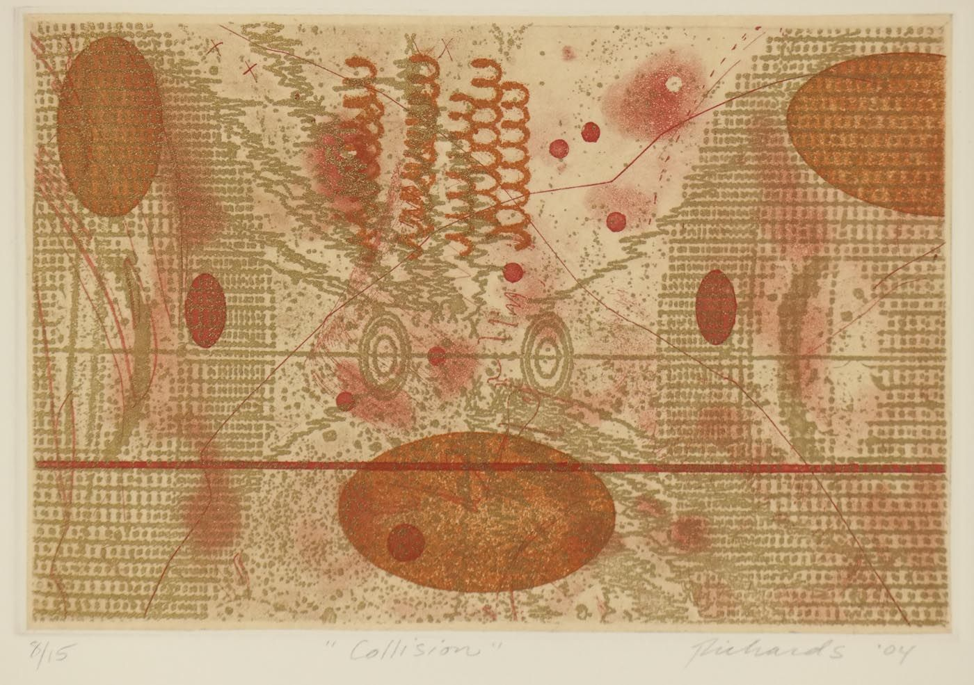 Rosalyn Richards / Collision / etching / intaglio / abstract / color / printmaking / art / decor