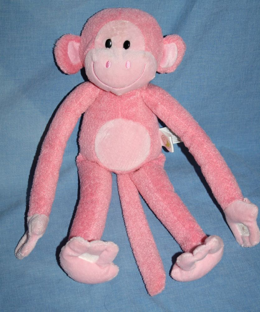 Animal Adventure Pink Monkey Soft Toy Plush Stuffed Swinging Hand