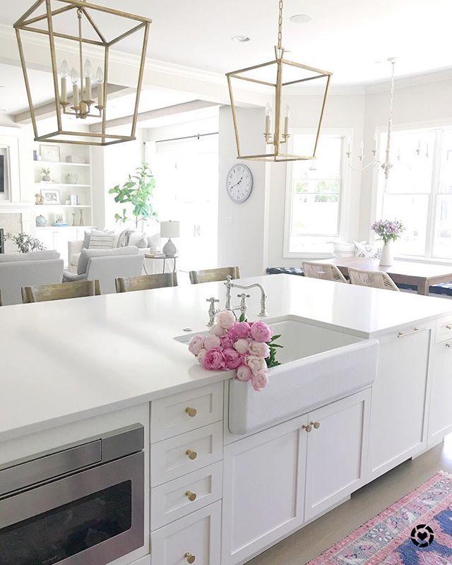 Life on Cedar Lane - white kitchen, kitchen island, big island