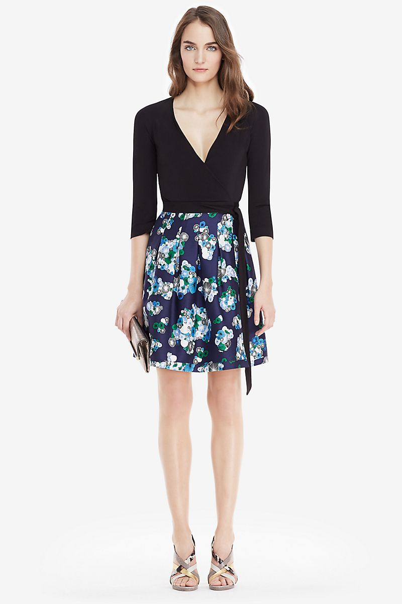 DVF Jewel Silk Combo Wrap Dress   Landing Pages by DVF   cloths ...