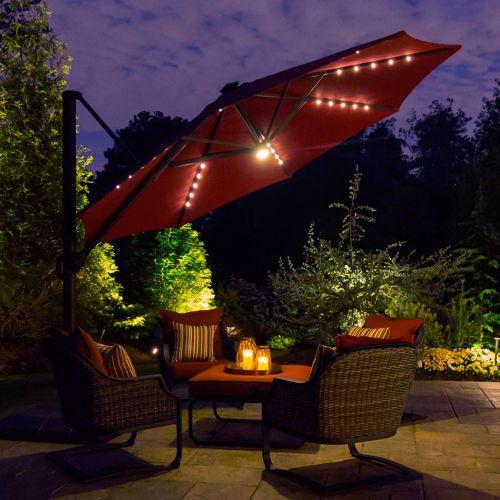 11 LED Solar Offset Umbrella In Burgundy By Seasons