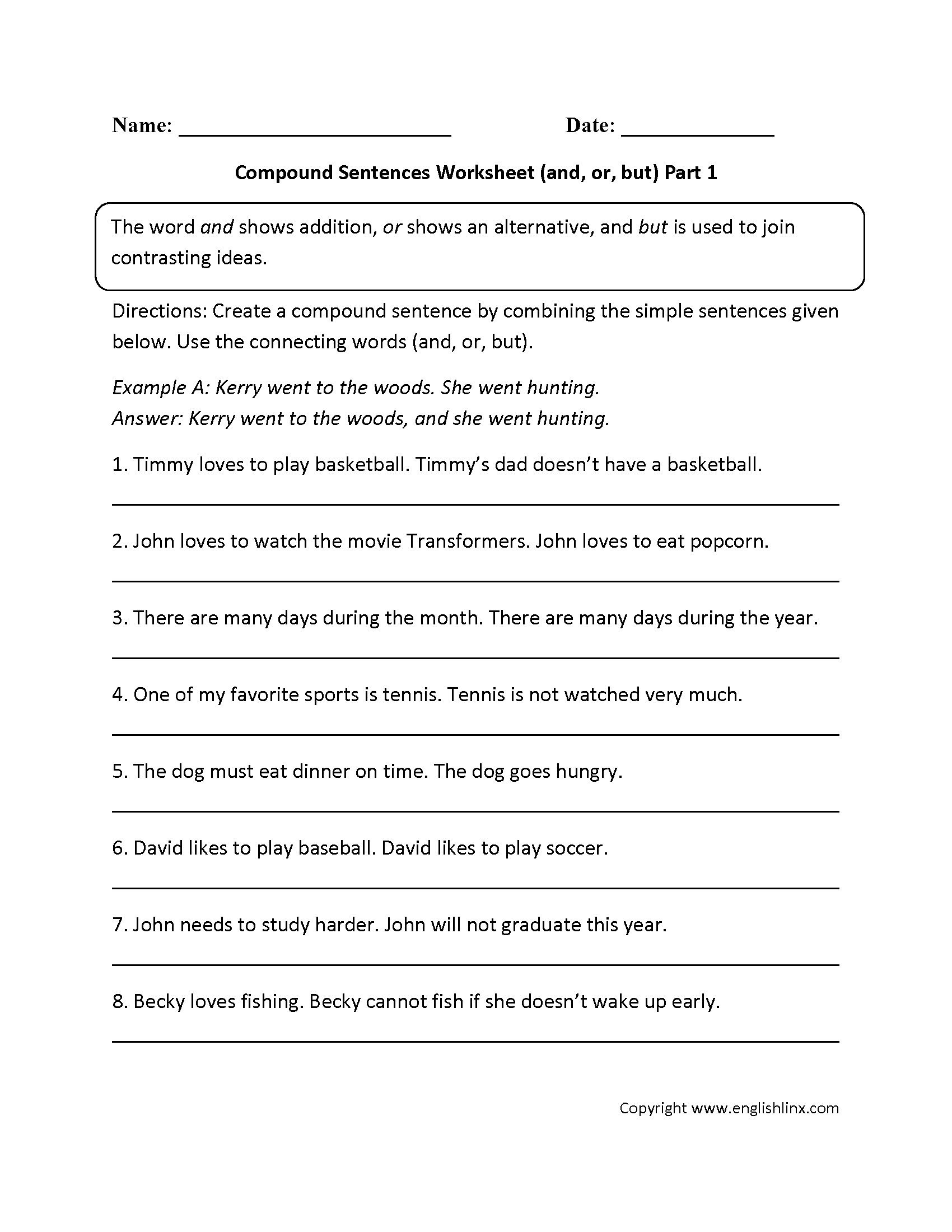 And Or And But Compound Sentences Worksheet 6th 7th 8th