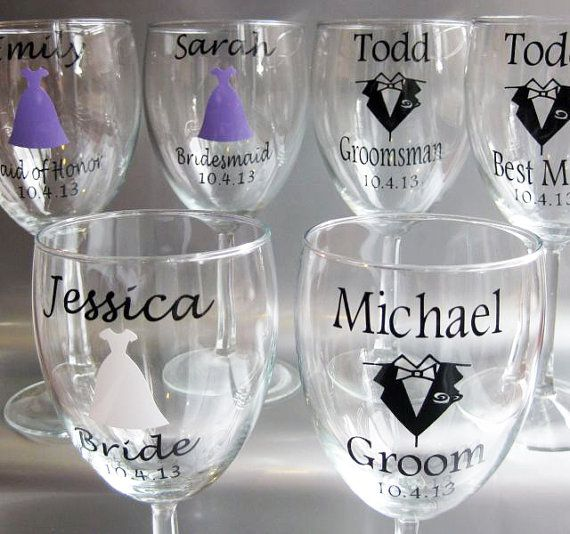 single diy personalized wine glass wedding decals bride groom