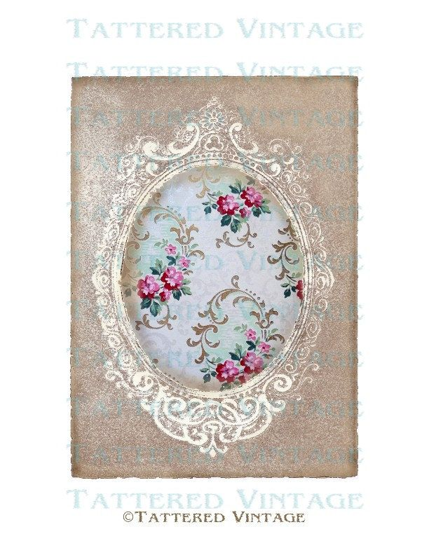 Tattered Cameo Frame Instant Download no.191 Antique Wallpaper ...