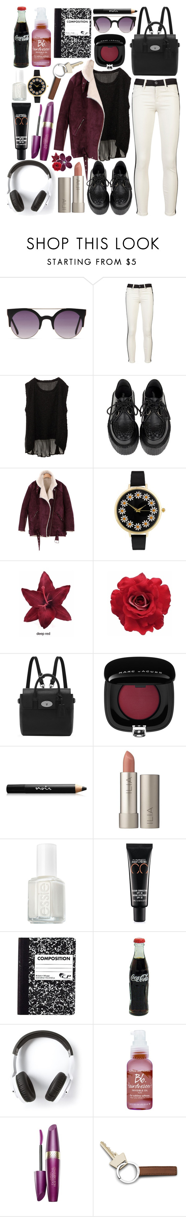 """You've got such a sharp tongue, cuts me like a knife"" by charliiieeex ❤ liked on Polyvore featuring Hudson Jeans, MDKN, ASOS, Clips, Mulberry, Marc Jacobs, Noir Cosmetics, Ilia, Essie and MAC Cosmetics"