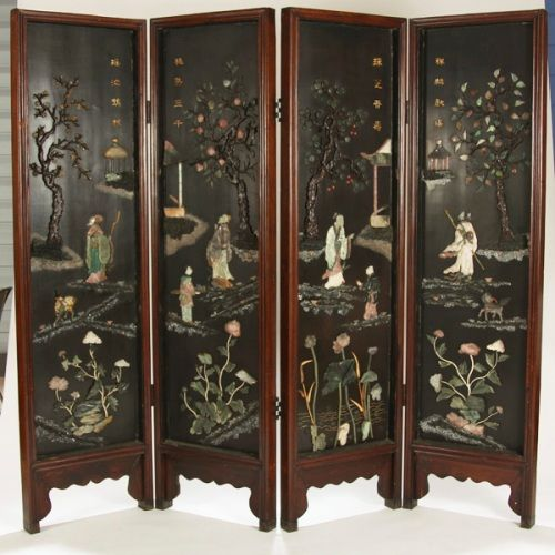 Mother Of Pearl Inlay Wooden Mini Folding Screen Asian: Vintage Oriental Screens Room Dividers