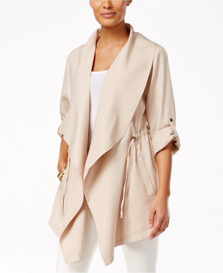 G.H. Bass & Co. Three-Quarter-Sleeve Cinch-Waist Draped Jacket - Jackets - Women - Macy's