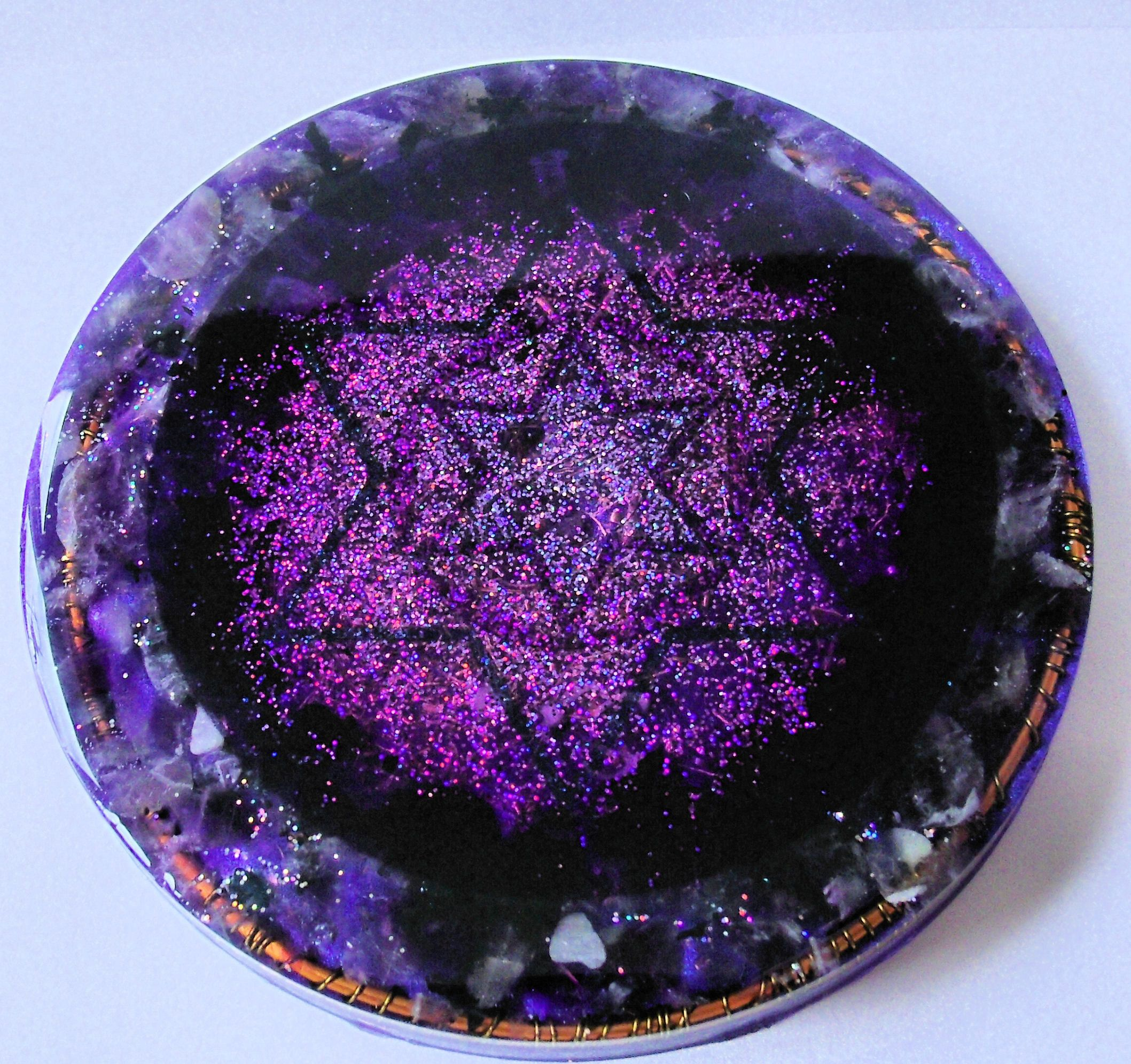 Crown chakra charging coaster orgone charger amethyst