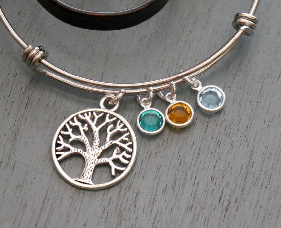 Tree Birthstone Bangle Gifts For Grandmothers 3 Bracelet Silver