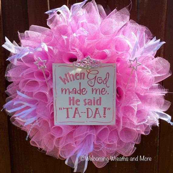 Princess Wreath Baby Girl Wreath Pink Deco Mesh Wreath