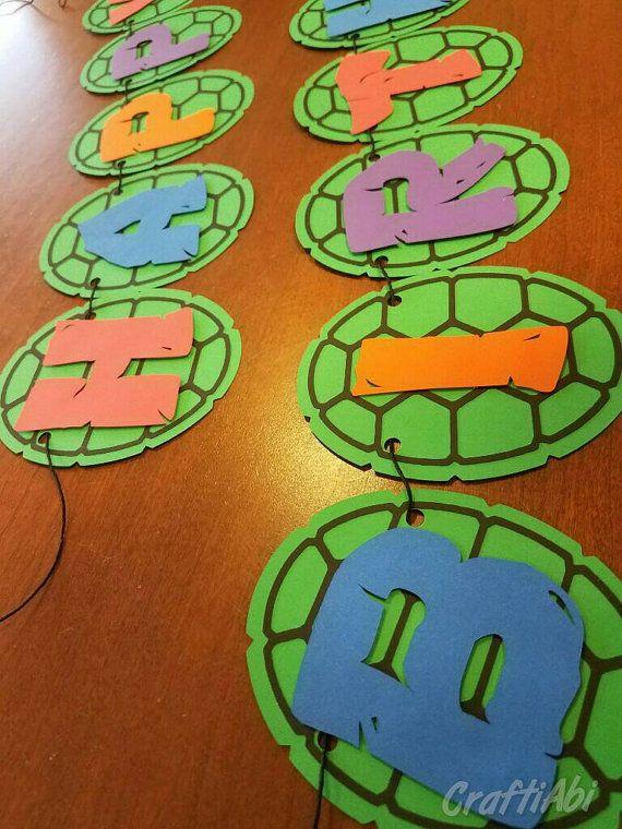 Teenage Mutant Ninja Turtles Banner TMNT Birthday Turtle Party Inspired