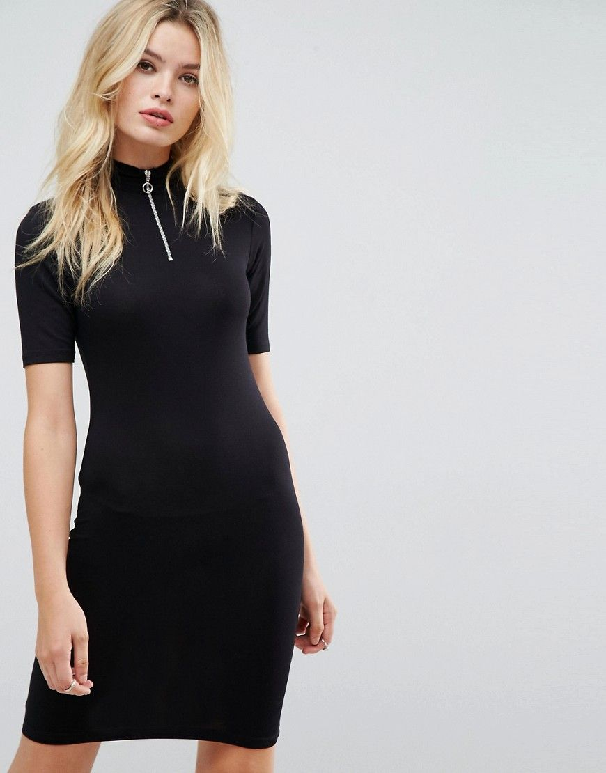 Asos mini rib bodycon dress with polo neck
