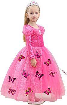 e1b58ea46 Le SSara Manga Larga Chica Princesa Cosplay Disfraces Fantasía vestido de  mariposa (150